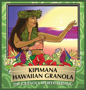 Kipimana Hawaiian Granola Logo of Hula Dancer at Sunset